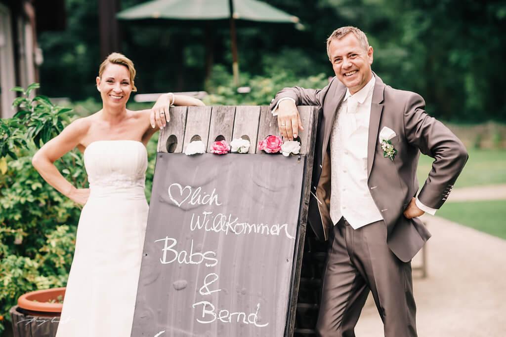 Willkommensschild Hochzeitsdeko im Hotel Alster Au Hamburg