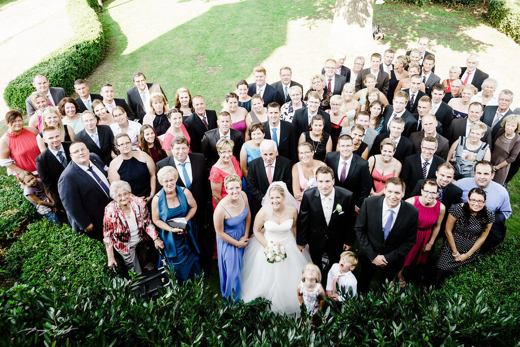 Gruppenfotos Hochzeit Fliegenberg Brautpaar